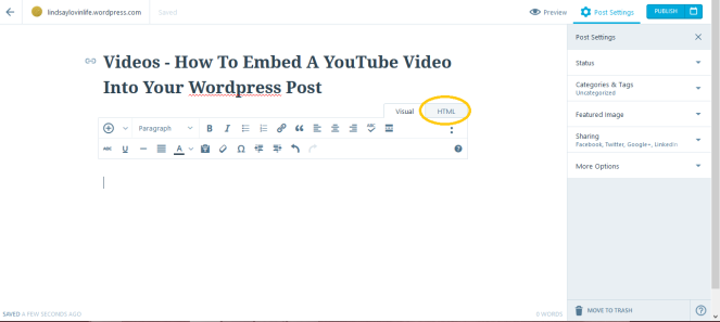 How to embed a youtube video into a wordpress blog post 3