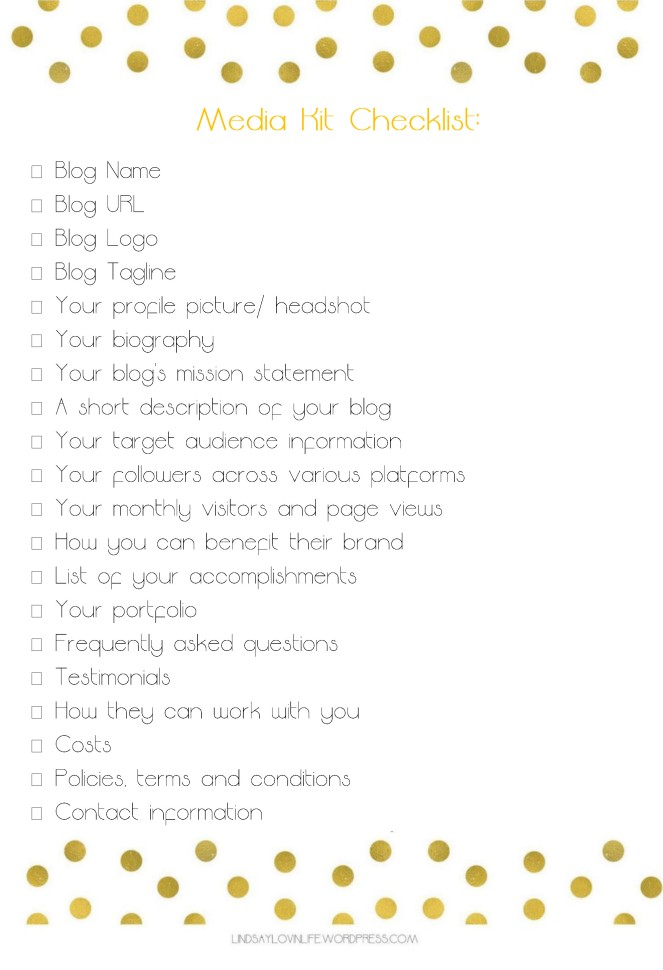 Media Kit Checklist Free Printable