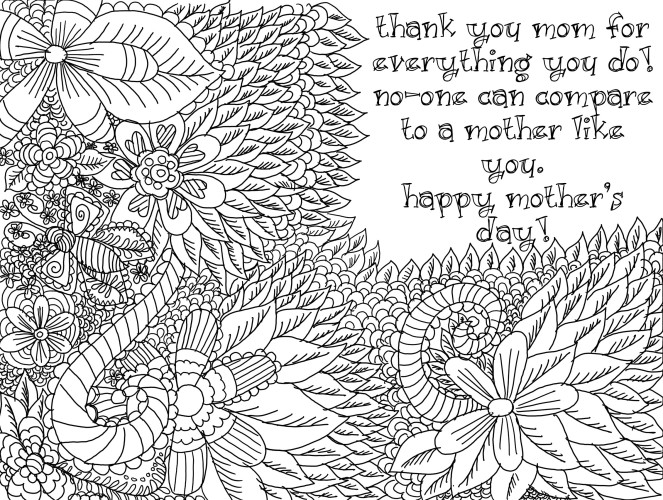 Mother's Day Colouring Page
