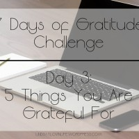 7 Days of Gratitude Challenge -  Day 3: 5 Things You Are Grateful For