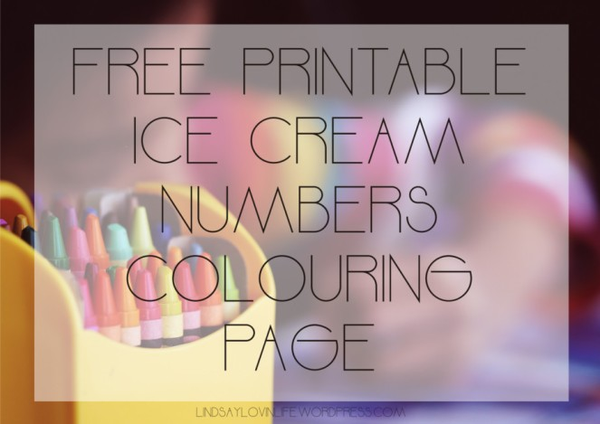 Free printable ice cream numbers colouring page