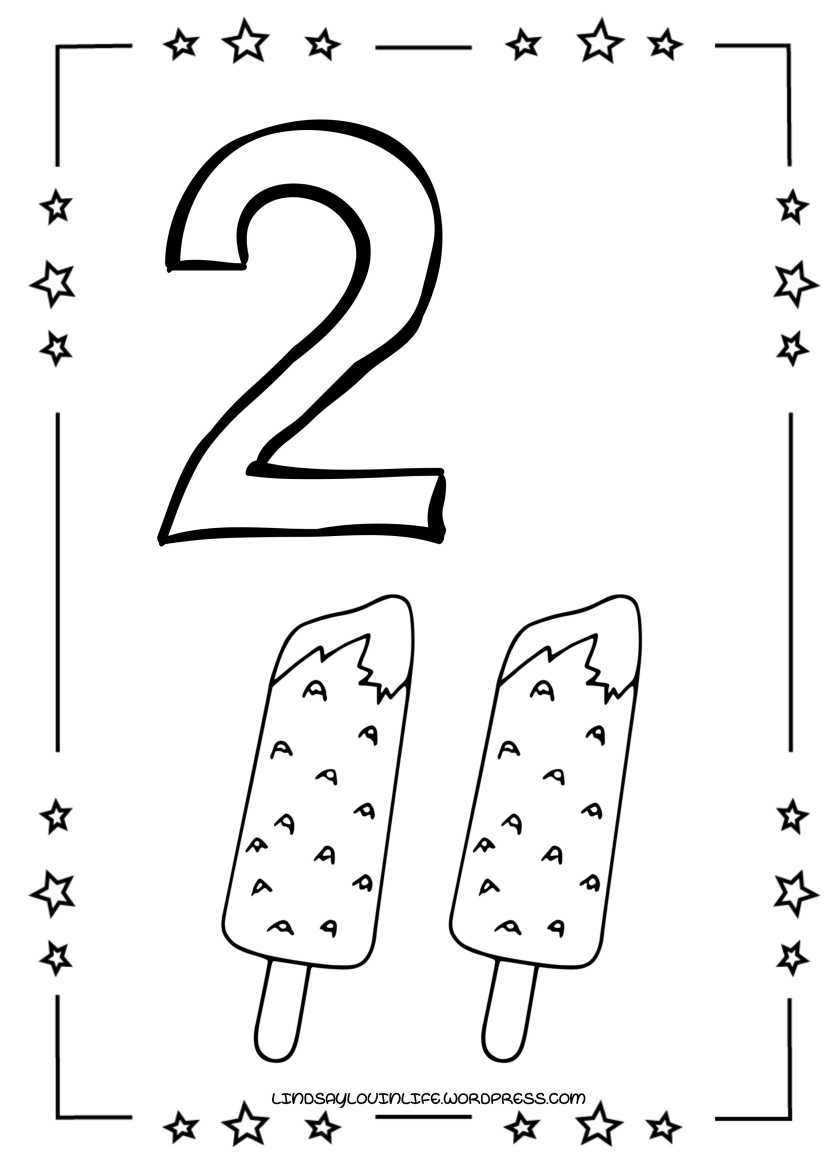 ice cream numbers colouring page – number 6