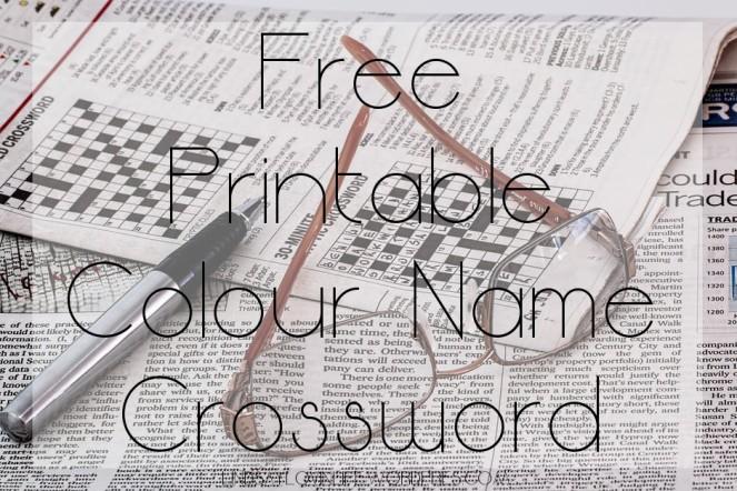Free Printable Colour Name Crossword