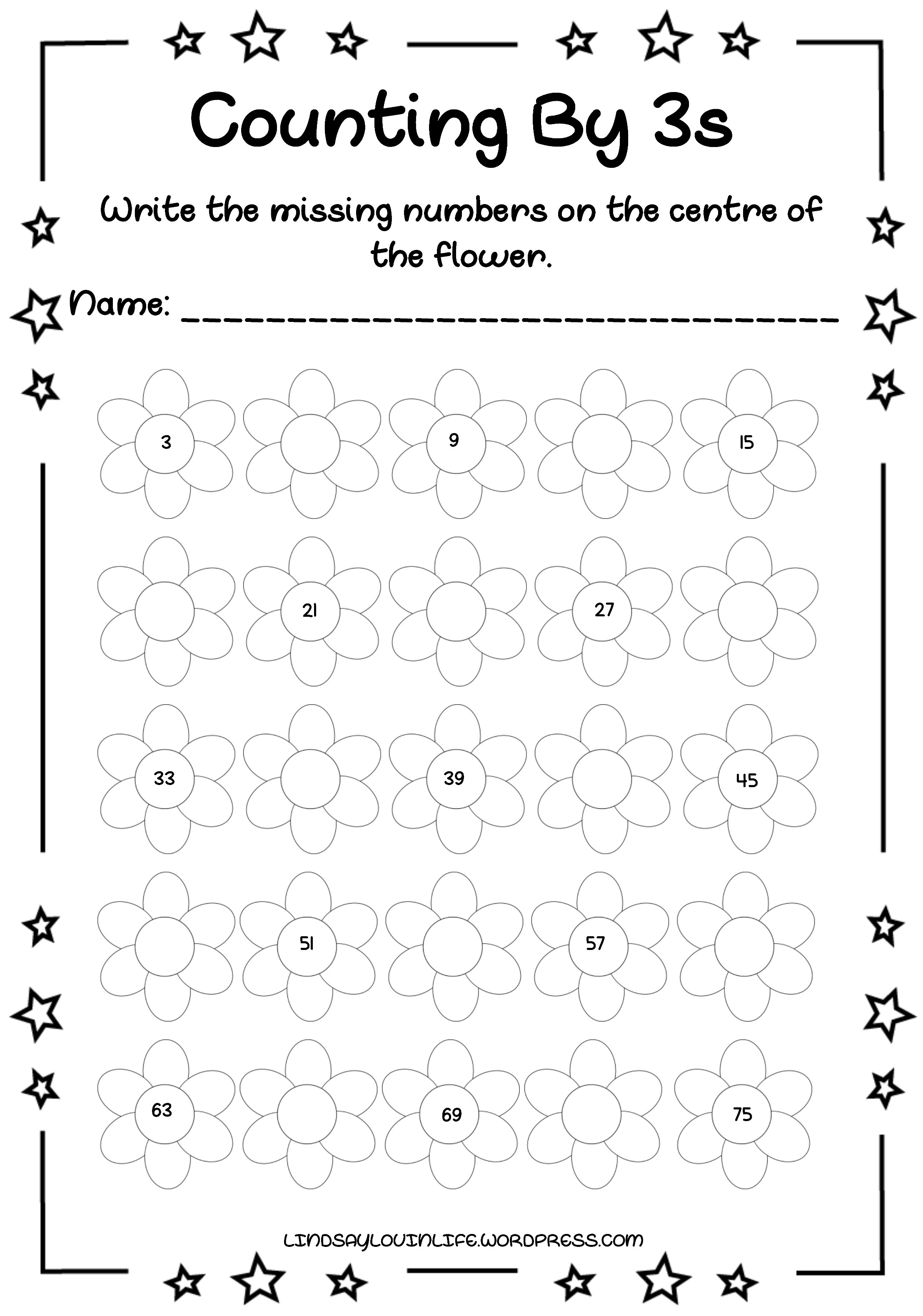 photograph about Free Printable Counting Worksheets referred to as No cost Printable Rely Through 3s Worksheet