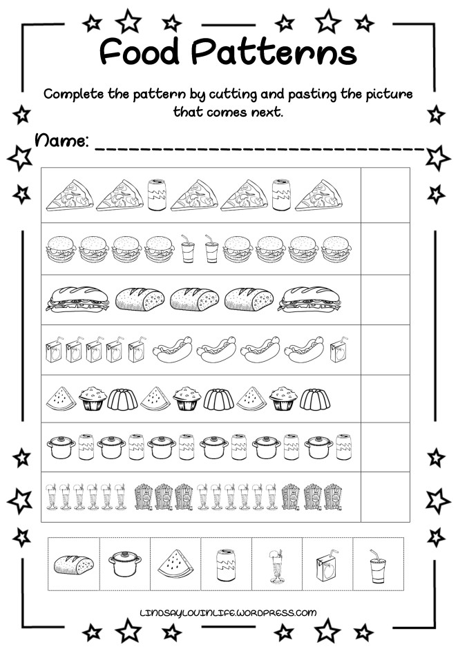 free printable food patterns worksheet. Black Bedroom Furniture Sets. Home Design Ideas