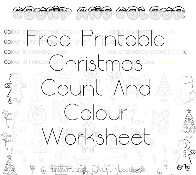 blogmas day 9 free printable christmas count and colour worksheet