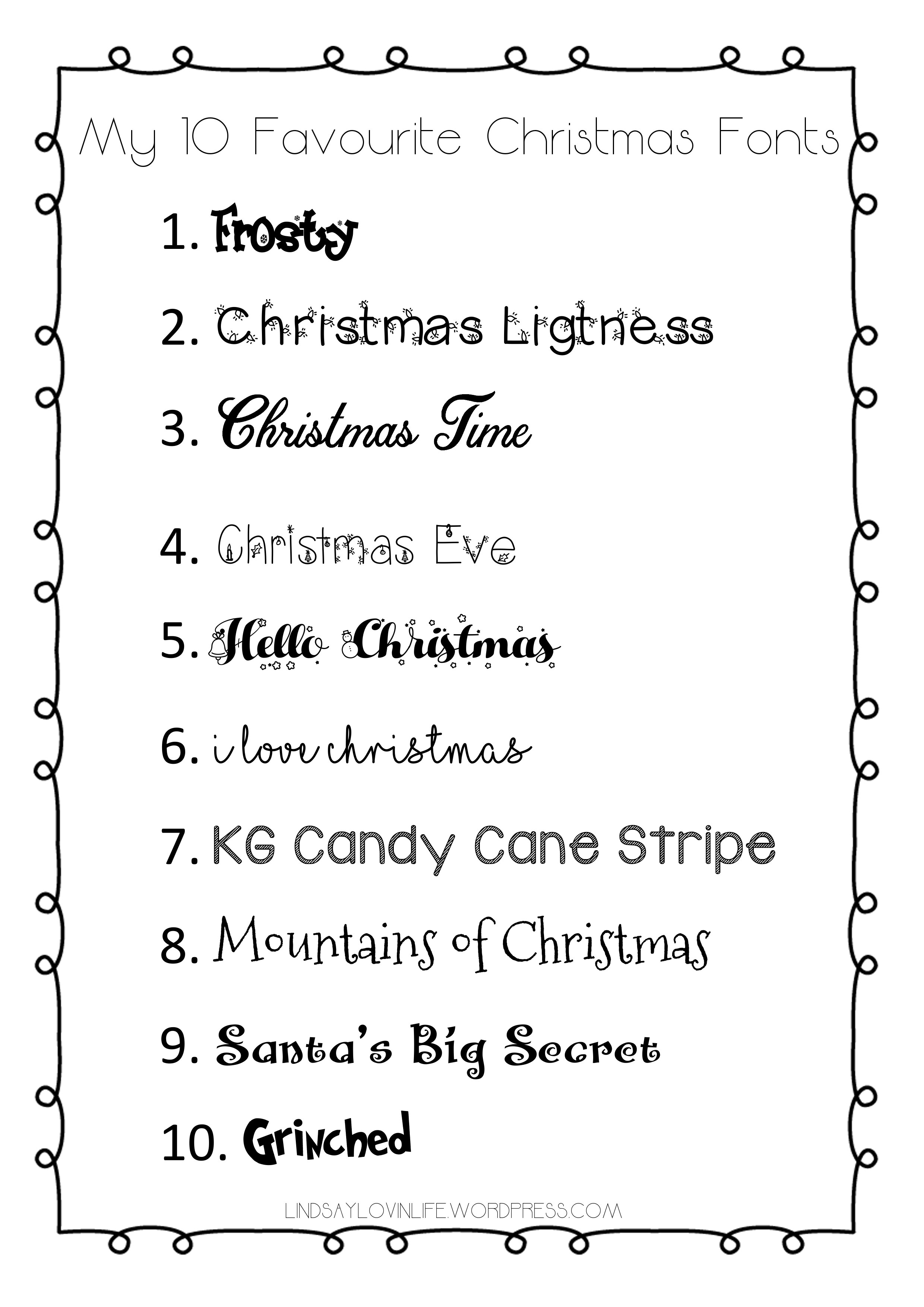 image relating to Fonts Printable identified as Blogmas Working day 18 My 10 Favored Xmas Fonts