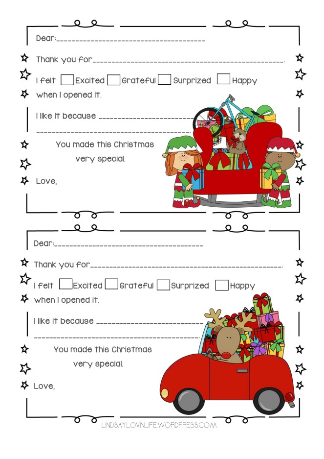 Blogmas Day 6 – Free Printable Christmas Gift Thank You Notes